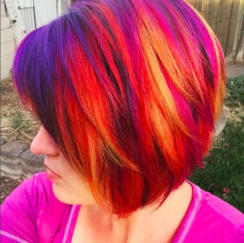 sunset highlights for short hair