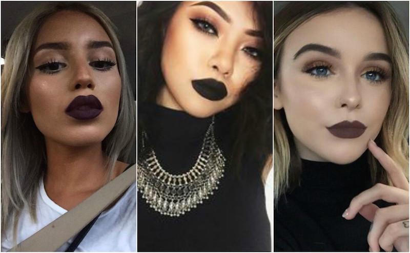 dark lipstick lips