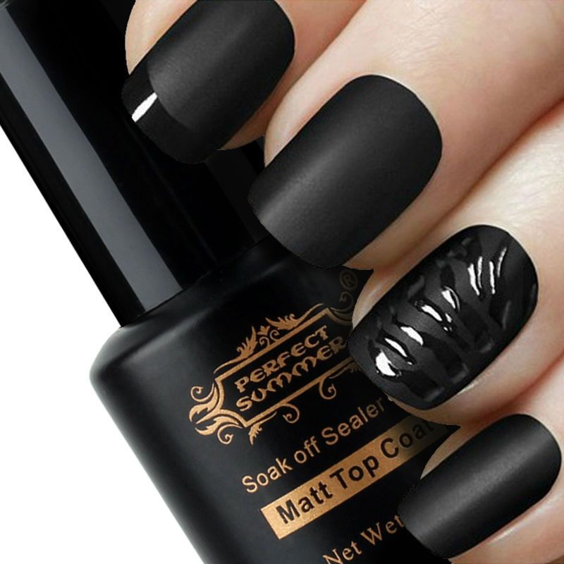 black matte with shimmery accents nails