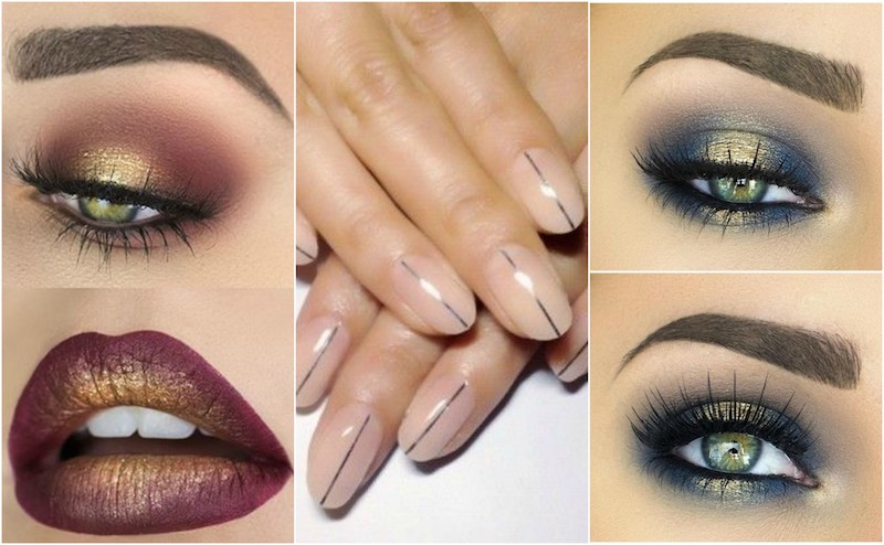korean minimalist nails metallic ombre lips spotlight eye shadow