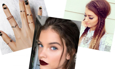negative space metallic nails dark lips nude eye makeup braid boho hairstyle weekend style