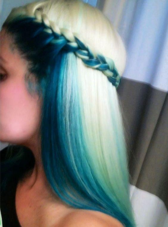 How to get peekaboo blue hair blue under blonde hair highlights pmusecretfo Choice Image