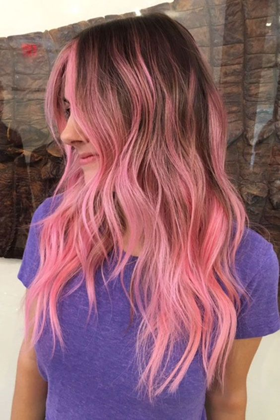 Cotton candy rose balayage