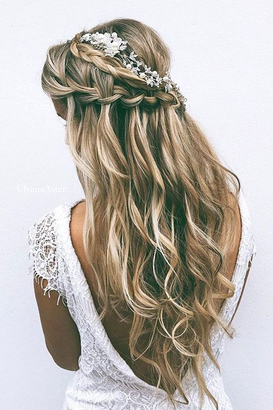 Double braid with flowers