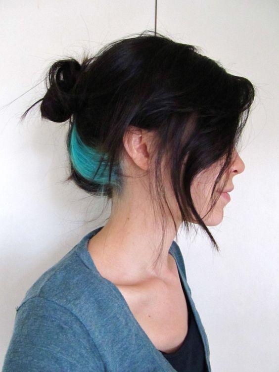 single under-lighted blue chunk hair