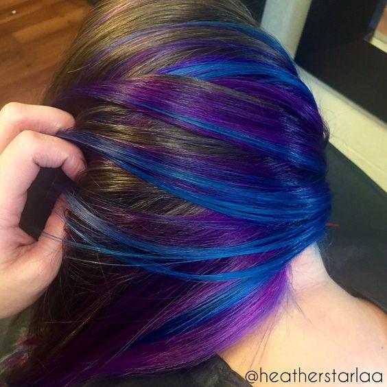 blue and violet under-lights hair