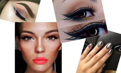 helix eyeliner double cat eye coral lips chrome nails