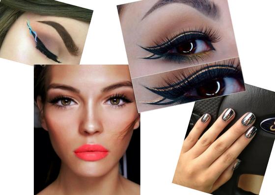 helix eyeliner double cat eye coral lips chrome nails