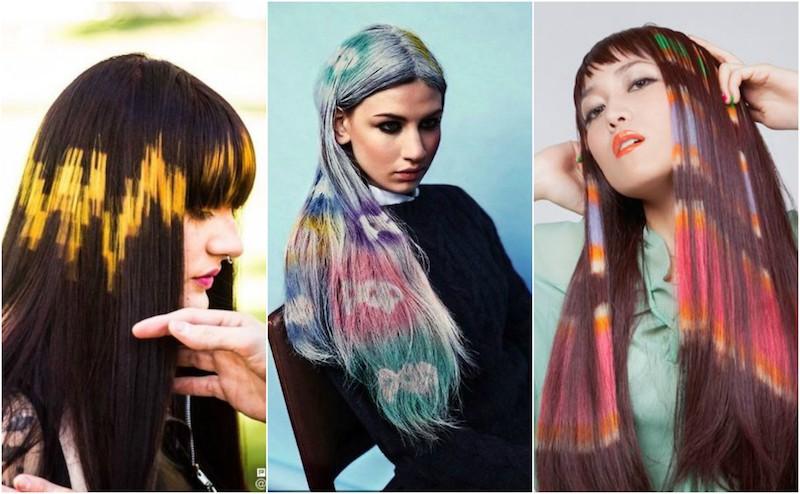 rainbow hair stenciling