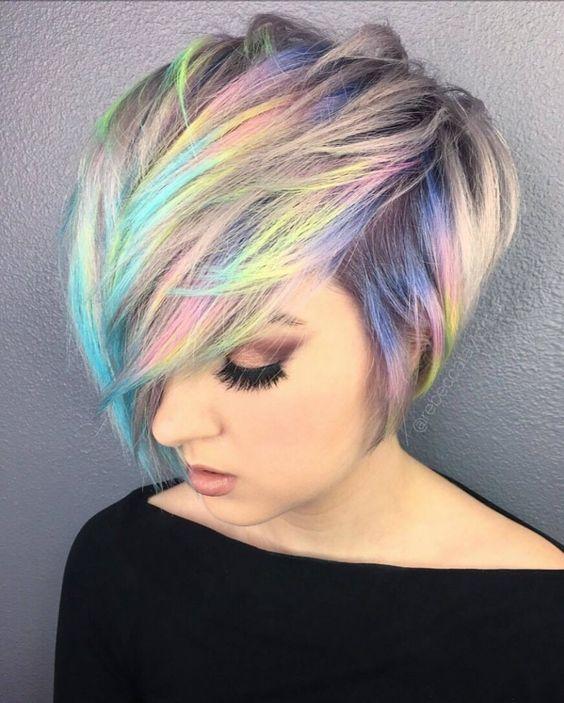 Accept. opinion, short rainbow hair are