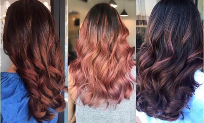 brunette rose gold hair
