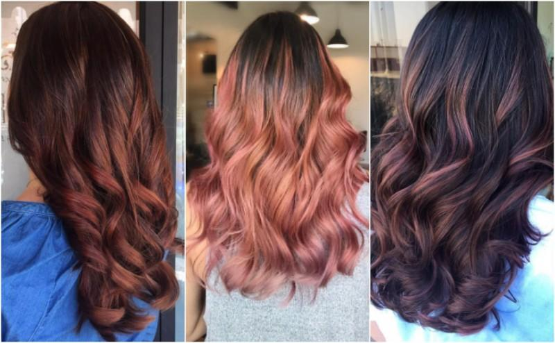 brunette rose gold hair