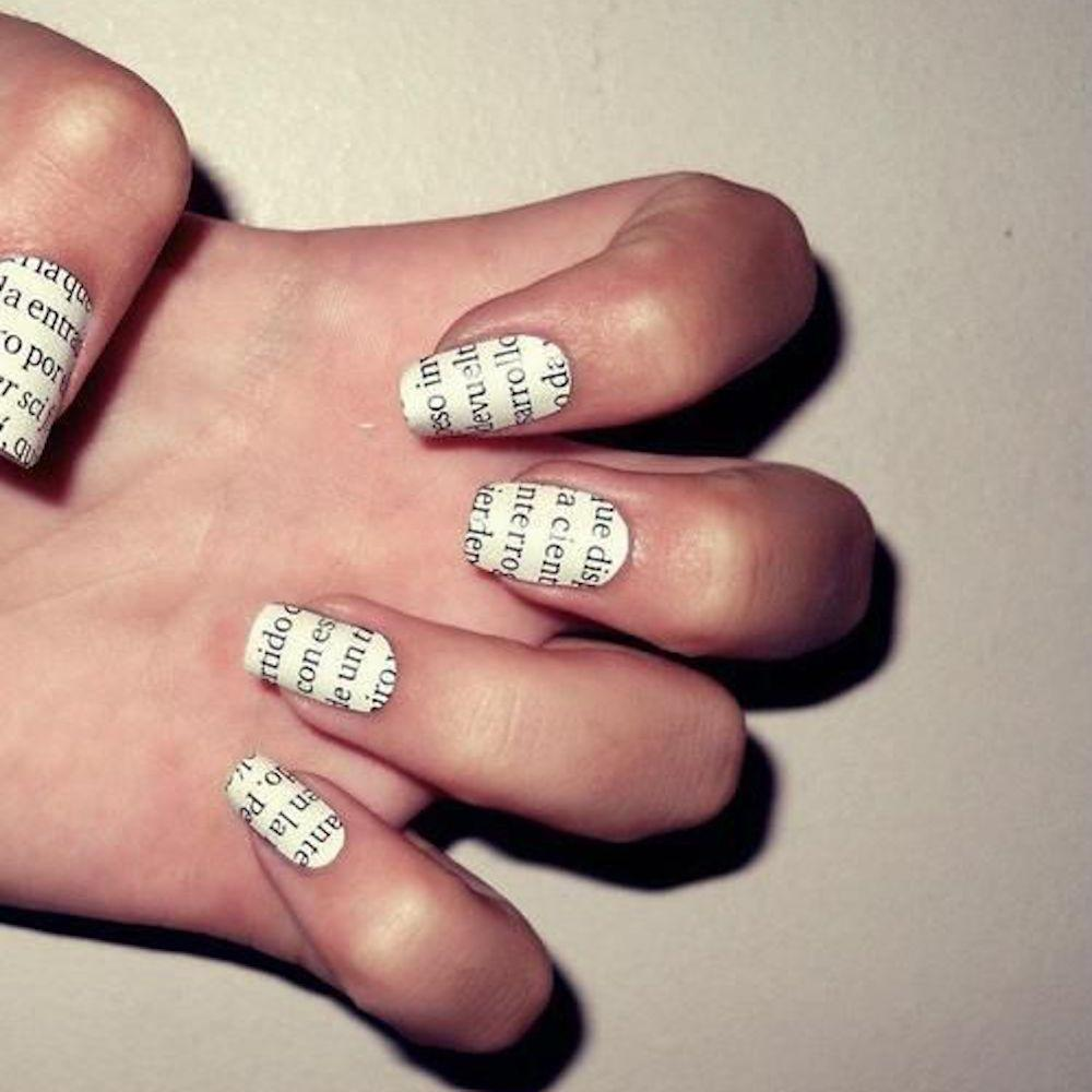 Beautiful Newspaper Nails Without Alcohol Ornament - Nail Art Ideas ...