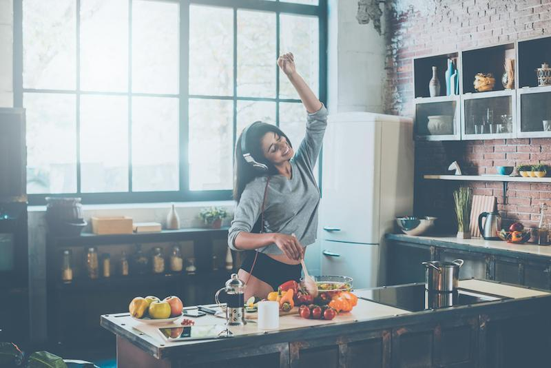Cooking with passion. Beautiful young mixed race woman in headphones cooking salad and dancing while standing in kitchen at home cookingwomanmusichomekitchenpeoplesingingbeautyvegetablemorningyoungexpressinglisteninginteriorlifemixedhealthyfacialblacksaladeatingfemininitydescentfood20sadultafricanandbeautifulcandidcheerfulclosedconfidencedancingdietingdomesticdrinkenjoymentethnicityexpressioneyesfemalesfreshnessgesturingheadphonesindoorslifestylesoneonlypantiesperson positivity preparation race relaxation sensuality standing underwear window women Show more