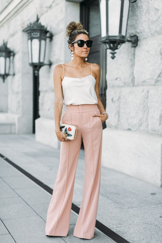 High Waisted, Wide Leg Trousers