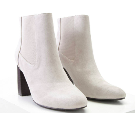 White faux suede booties