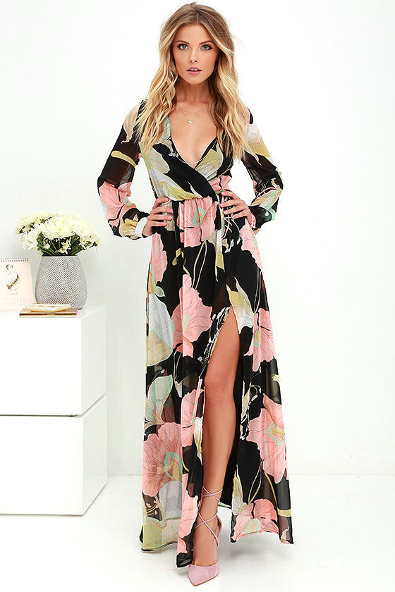 woman in floral maxi dress