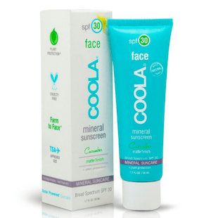 coola sunscreen bottle and box blue and white